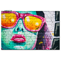 HD Print Graffiti Stree Art Women Face with Sunglasses Oil Painng on Canvas Pop Art Abstract Wall Picture for Living Room Cuadro
