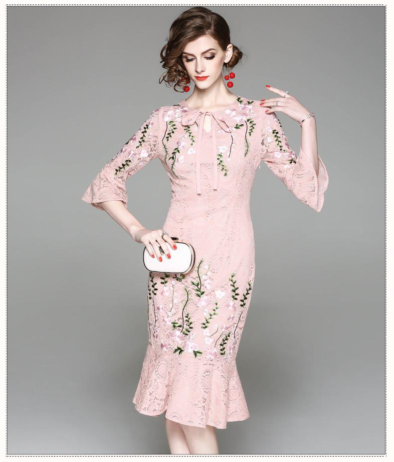 f3e097a694bdb4 LYFZOUS Fashion Floral Design Lace Mermaid Dress Women Summer ...