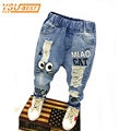 New 2017 Spring Autumn Children Trousers 1-7Yrs Baby Boys Girls Jeans Boys Casual Pants Cartoon Cat Jeans For Kids