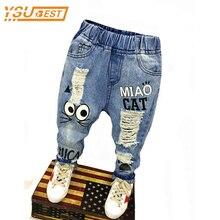 Nouveau 2017 Printemps Automne Enfants Pantalon 1-7ans Bébé Garçons Filles Jeans Garçons Occasionnels Pantalon Chat de Bande Dessinée Jeans Pour Enfants