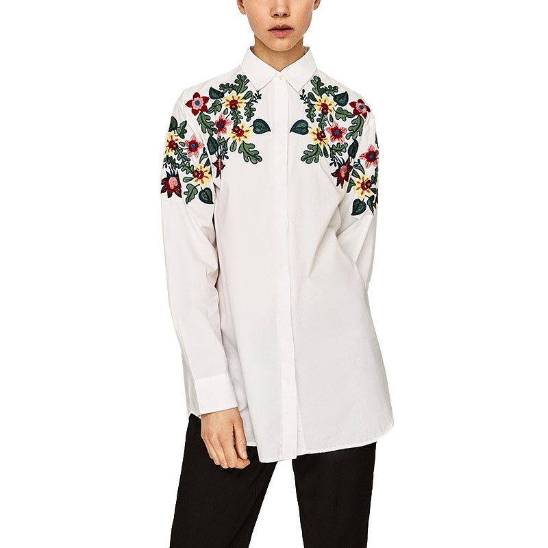 New women spring floral embroidery blouses shirts