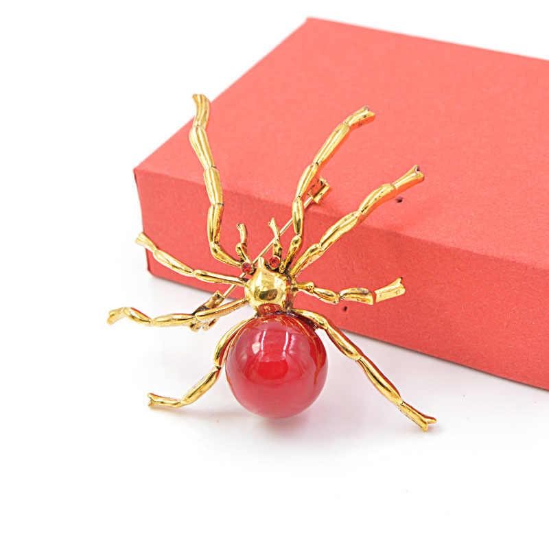 Cinkile Merah Resin Bead Laba-laba Besar Bros untuk Wanita Fashion Halloween Desain Pin Serangga Perhiasan Jins Musim Gugur Lencana Hadiah