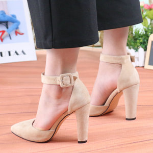 Image 4 - QUTAA 2020 Women Pumps Fashion Women Shoes Party Wedding Super Square High Heel Pointed Toe Red Wine Ladies Pumps Size 34 43