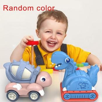 Electric Automatic Rotating Dinosaur Construction Car with Light Music Kids Toy Mini animal child Toys фото