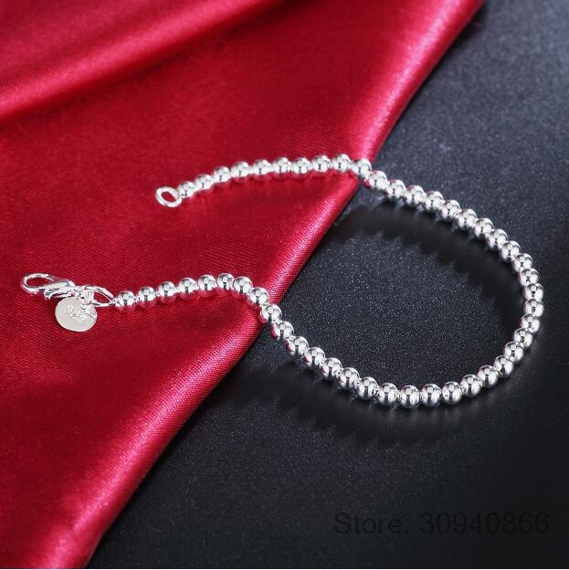 LEKANI 100 925 Solid Real Sterling Silver Fashion 4mm Beads Chain Bracelet 20cm For Teen Girls