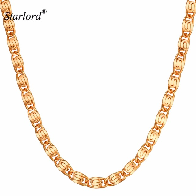 Starlord Snail Chain Necklace Men Jewelry Wholesale 6MM GoldSilver