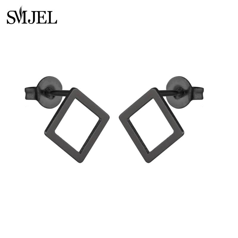 SMJEL, модные богемные ювелирные изделия из старинных серег, милые черные геометрические круглые серьги-гвоздики из нержавеющей стали, лучший подарок для женщин и девушек - Окраска металла: GED024