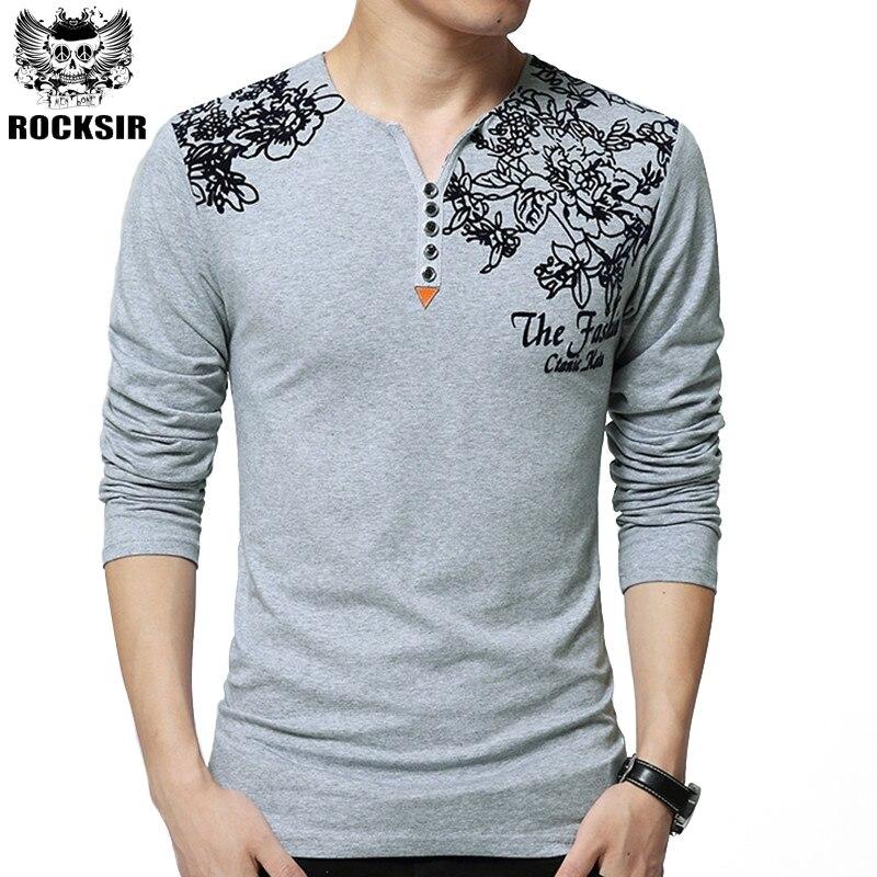 Gorąca Sprzedaż Wiosna Jesień Moda Marka Tshirt Mężczyźni Funny Bawełna z długim Rękawem T-shirt V Neck Slim Fit Topy Tee Homme M-5XL