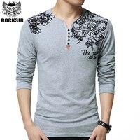 Heißer Verkauf Frühling Herbst Mode Marke T-shirt Männer Lustig Baumwolle Langarm T-shirt V-ausschnitt Slim Fit Tops T Homme M-5XL