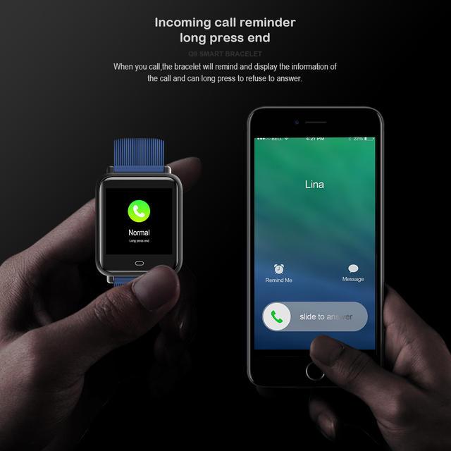 Smart Watch for Mens Q9 Blood Pressure Heart Rate Monitor Smartwatch IP67 Waterproof Sport Fitness Trakcer Men Women Smartwatch