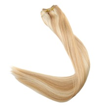 Full Shine Hair Bundles Hair Weft Extensions 100g Sew Ribbon Hair Extension Piano Color #27 and #613 Blonde 100% Remy Human Hair цена и фото