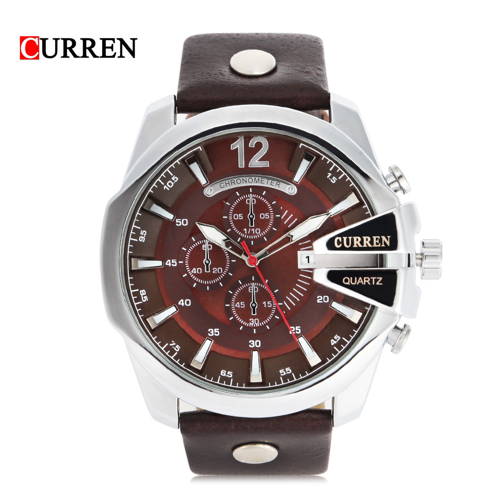 Fashion Big Dial Men CURREN Watches Top Luxury Brand Quartz Military Wrist Watch Men Clock Men's Watch Relogio Masculino 8176 mance luxury men s watches fashion brand dragon rome digital leather hollow dial quartz wrist watch relogio masculino time clock