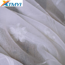 Embroidered sheer curtains for the bedroom Tulle Window Curtains Living Room white Voile Custom Made