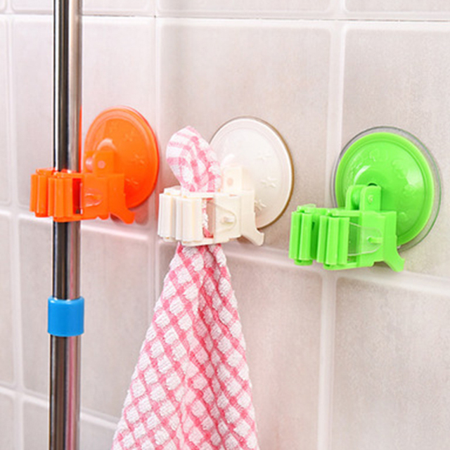 1pcs Seamless Powerful Suction Cup Hook Storage Holders Mop Broom Rack Door  Hanger Deck Mop Sundry