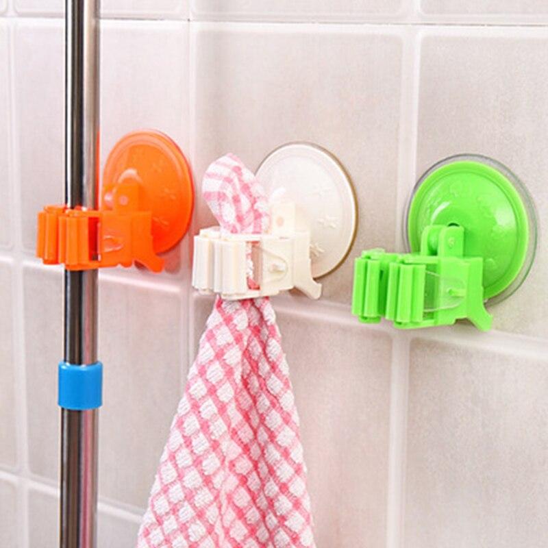1pcs Seamless Powerful Suction Cup Hook Storage Holders Mop Broom Rack Door Hanger Deck Mop Sundry Holder Tool