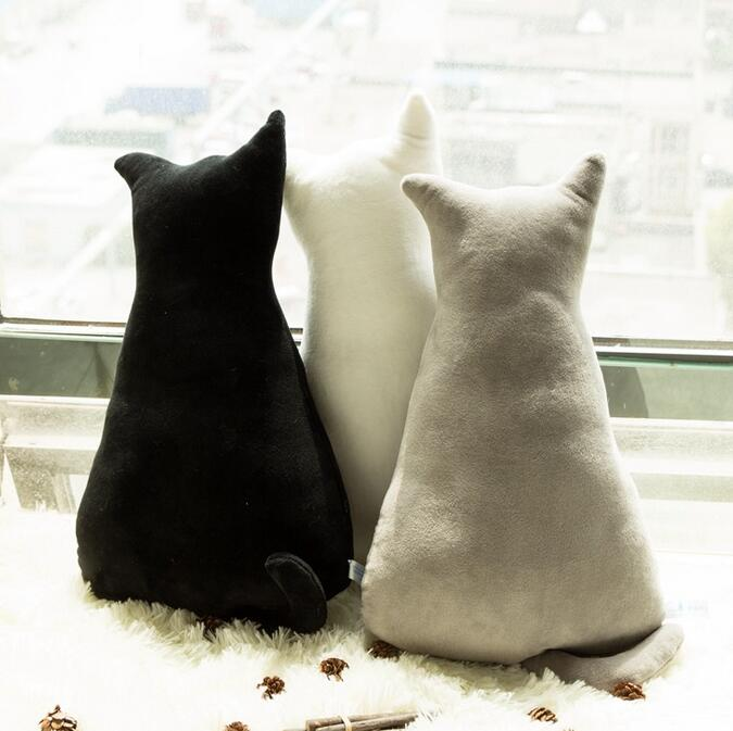 1pc 45cm soft fashion back shadow cat seat sofa pillow cushion cute plush animal stuffed cartoon