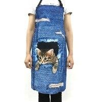 FORUDESIGNS Bonito 3D Gato Denim Avental para Mulheres Homens Engraçados azul Denim Cão de Limpeza Da Cozinha Avental Sem Mangas Casa Cozinhar churrasco aventais
