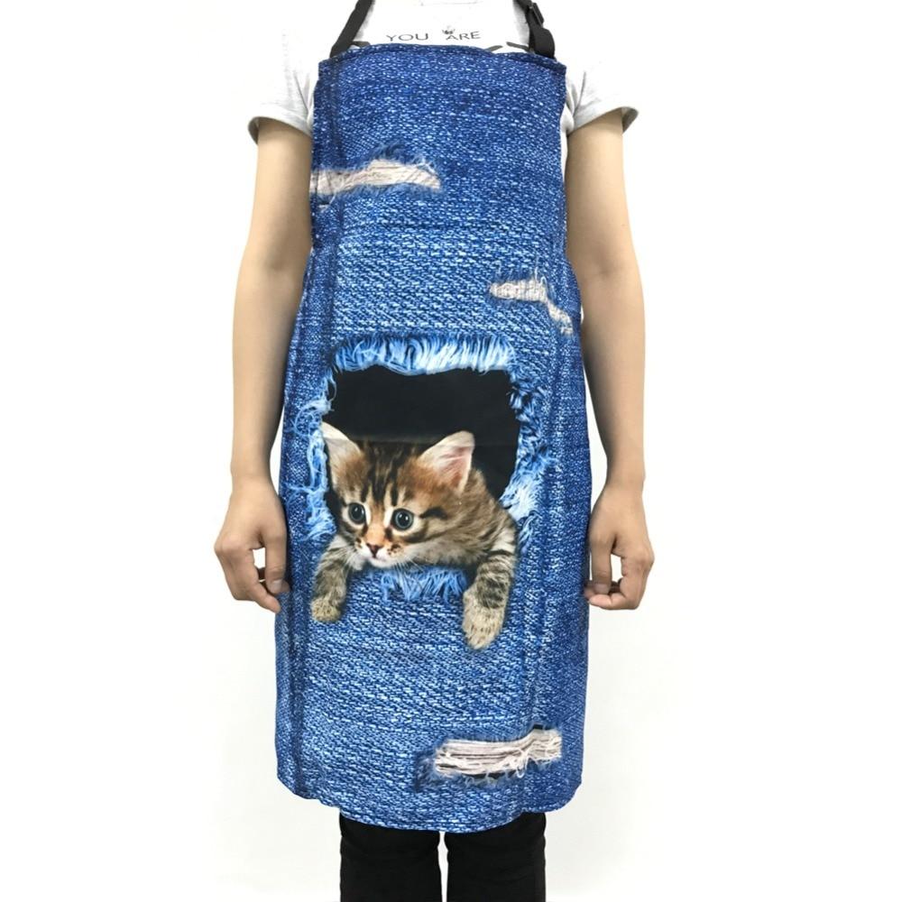 FORUDESIGNS 여성을위한 귀여운 3D 데님 고양이 앞치마 남성 재미 있은 블루 데님 개집 주방 민소 앞치마 홈 청소 요리 바베큐 앞치마