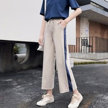 купить Women Fashion Side Striped Wide Leg Pants Female High Waist Summer Loose Long Pants 2019 Ladies Straight Sports Casual Trousers по цене 457.07 рублей