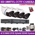 4CH CCTV System 1080P DVR 4PCS 1000TVL IR Weatherproof Outdoor Video Surveillance Home Security Camera System 4CH DVR Kit