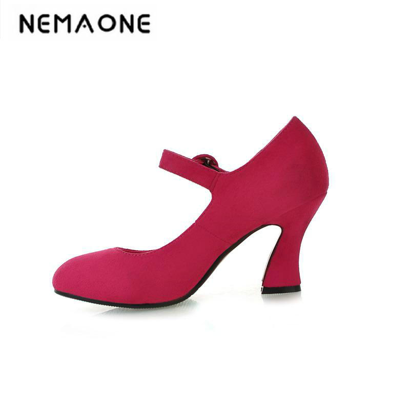 New Women Shoes Mary Jane Ladies High Heels White Wedding Shoes Thick Heel Pumps Lady Shoes gold lace pumps women mary jane shoes crystal pearl studded sandals red black pink ladies strange high heels wedding shoes