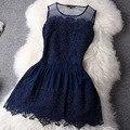 2017 venda quente grande costura lace dress vestido sem mangas vestidos de noite casual mini sexy women summer dress ladies roupas plus size