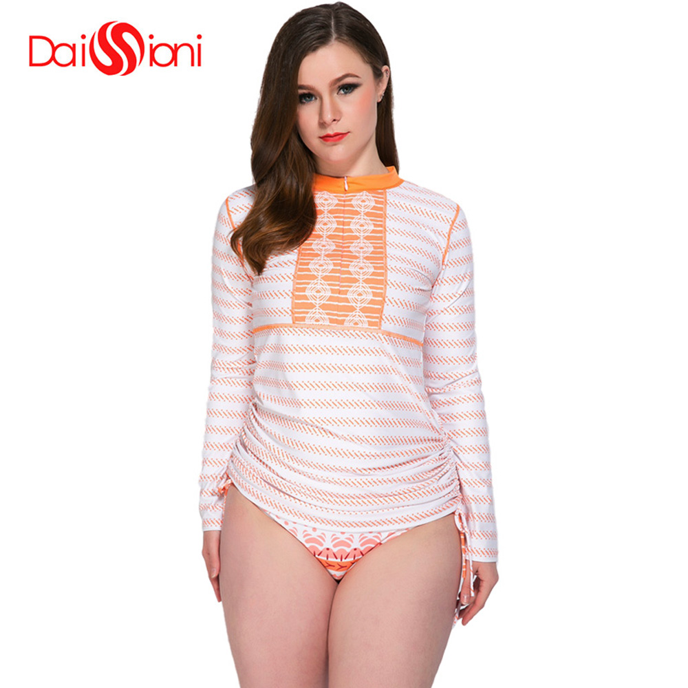 2019 Limited Plus Size Swimwear Sexy Retro Wave Point Women Swimsuit Female Tankini 5xl Two Pieces Long Sleeve Bikini Beachwear