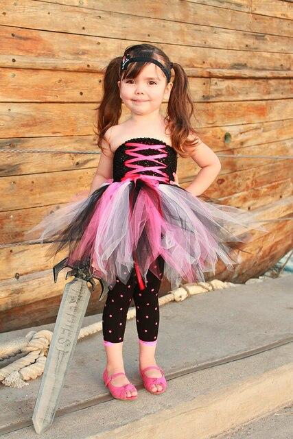 Black Sea Rover The Viking Dress Birthday Outfit Prop Halloween Costume Girl Tutu Funking Pirate Girls