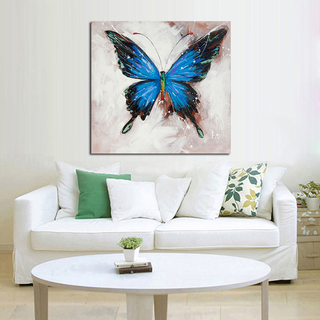 Hand painted oil painting butterfly decorative wall art for living ...