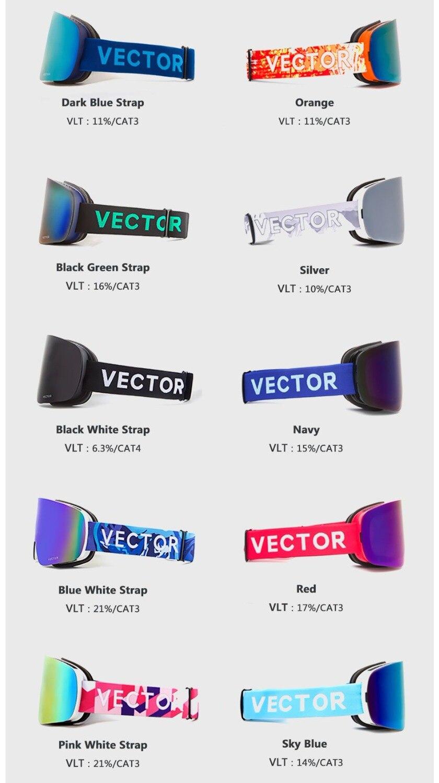 VECTOR marque lunettes de Ski Double lentille UV400 Anti-buée femmes hommes Snowboard Ski lunettes neige lunettes avec lentille supplémentaire - 5