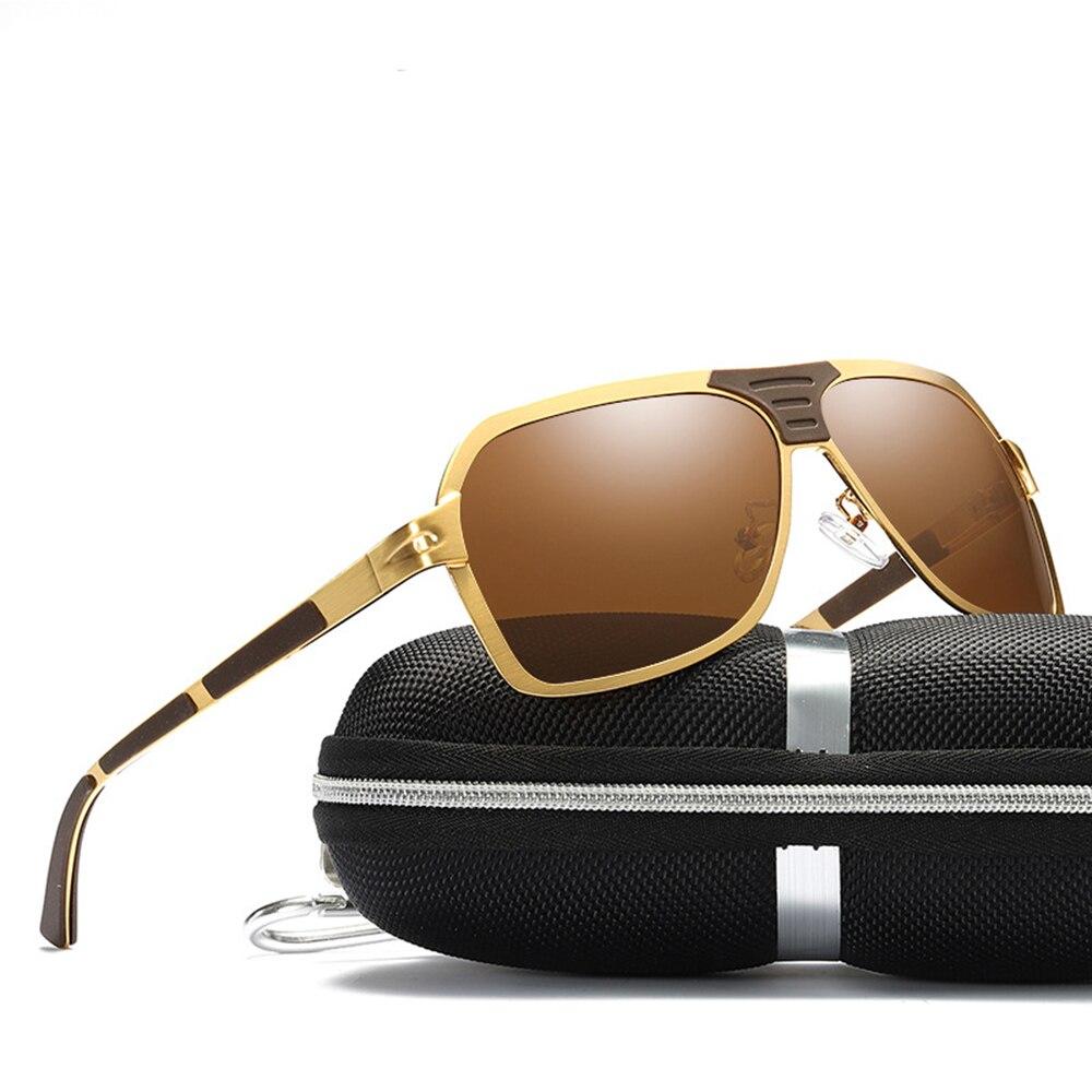 Alloy Oversized Rectangle Spring Leg Cool Men Polarized Sunglasses Custom Made Myopia Minus Prescription Polarized Lens -1 To -6