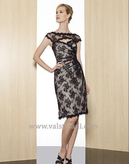 free shipping 2013 vestidos de fiesta formales new arrival short black lace cap sleeve bridal elegant party evening dresses gown