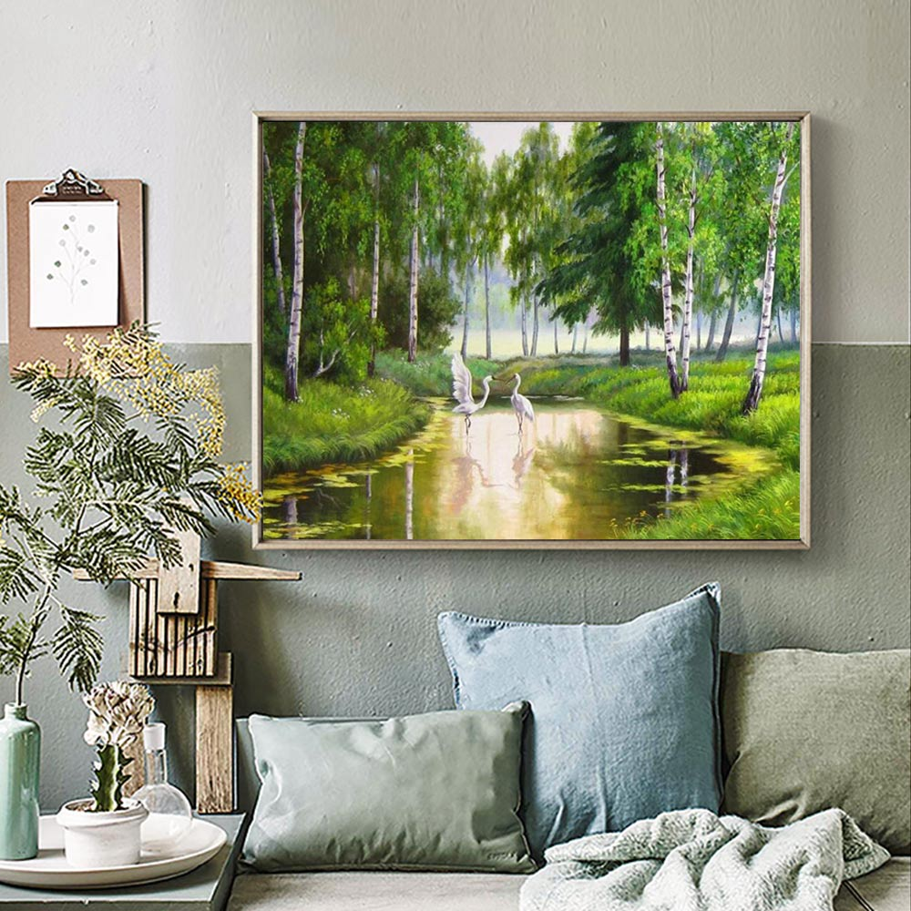 Forests and rivers Diamond Painting Full Round scenic New DIY Sticking Drill Cross Embroidery 5D Oil painting style simple in Diamond Painting Cross Stitch from Home Garden