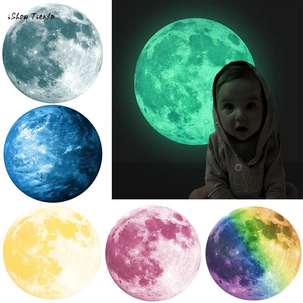 ISHOWTIENDA 30cm 3D Large Moon Fluorescent Wall Sticker Removable Glow In The Dark Wall Sticker Moon Light Stickers New