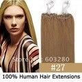 """100 unidades 16 """" 18 """" 20 """" 22 """" 24 """" 26 """" anillos Micro / lazo del pelo de remy #27 de color rubio oscuro 40 G / 50 G / 70 G por lote extensión del pelo humano"""