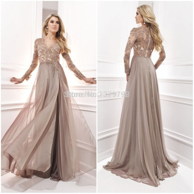 9035402c4f05 Elegant Long Sleeve A Line V Neck Chiffon Lace Beaded Long Maternity  Evening Dresses 2015 Vestido Festa Longo Noite