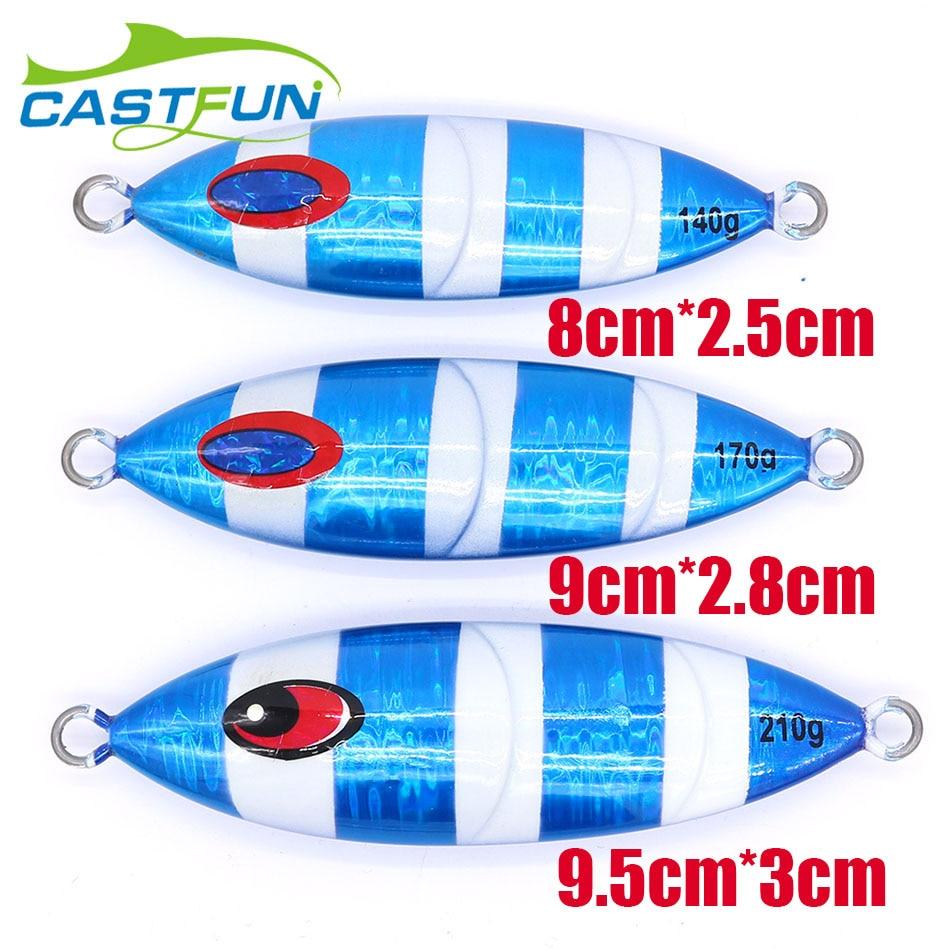 Купить с кэшбэком CASTFUN Slow Jigging 140g 170g 210g 3pcs/lot Power Jig Metal Jig Lure Saltwater Wholesale Fishing Lures