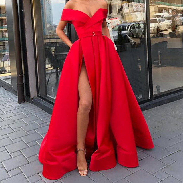 New arrival evening Dresse Formal vestido noiva sereia prom party robe de soiree red gown luxury frock sexy side slit pockets 3