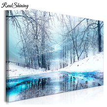REALSHINING Large Full,Diamond painting,60x80CM,Snow forest trees nature,square mosaic 5d,Diy,Diamond embroidery arts FS3135
