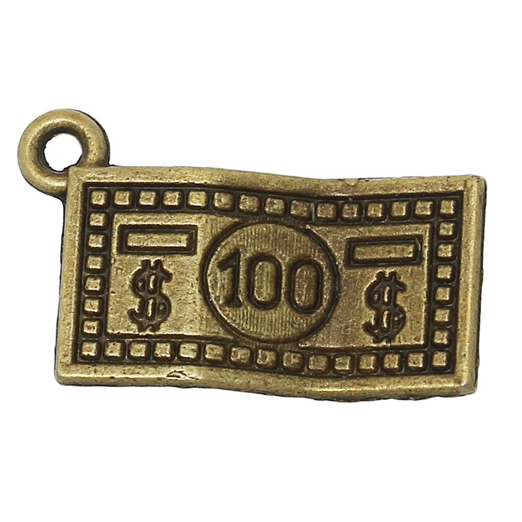 DoreenBeads Zinc metal alloy Charm Pendants Rectangle Antique Bronze Dollar sign Pattern ...