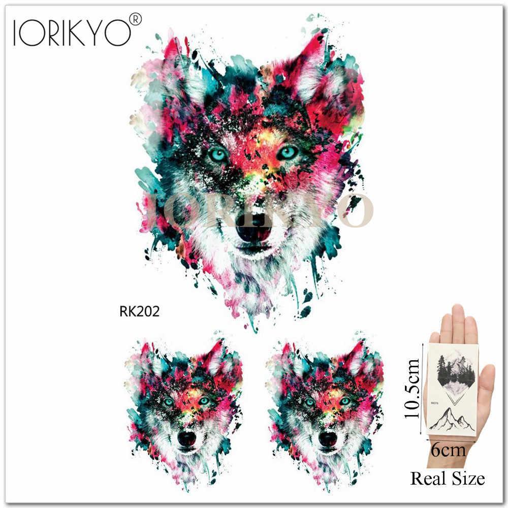 02a38c378 ... 3D Flash Galaxy Wolf Temporary Tattoo Men Chest Tiger Art Tattoo  Stickers Women Geometric Tiger Tribe ...
