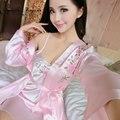 Высокое качество халат femme sexy цветочные атласная халаты гостиная пижамы установить полный рукавом длиной до колен долго сорочка набор