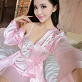 High quality robe lounge femme sexy floral satin bathrobes sleepwear set full sleeve knee length long nightgown set