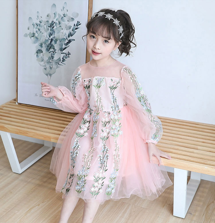 Retail 3-8Y Floral Embroidery Long Sleeve Princess Party Girls Dress Spring Tutu Kids Dresses For Girls Baby Girl Clothes 6360 toddler girl dresses chinese new year lace embroidery flowers long sleeve baby girl clothes a line red dress for party spring