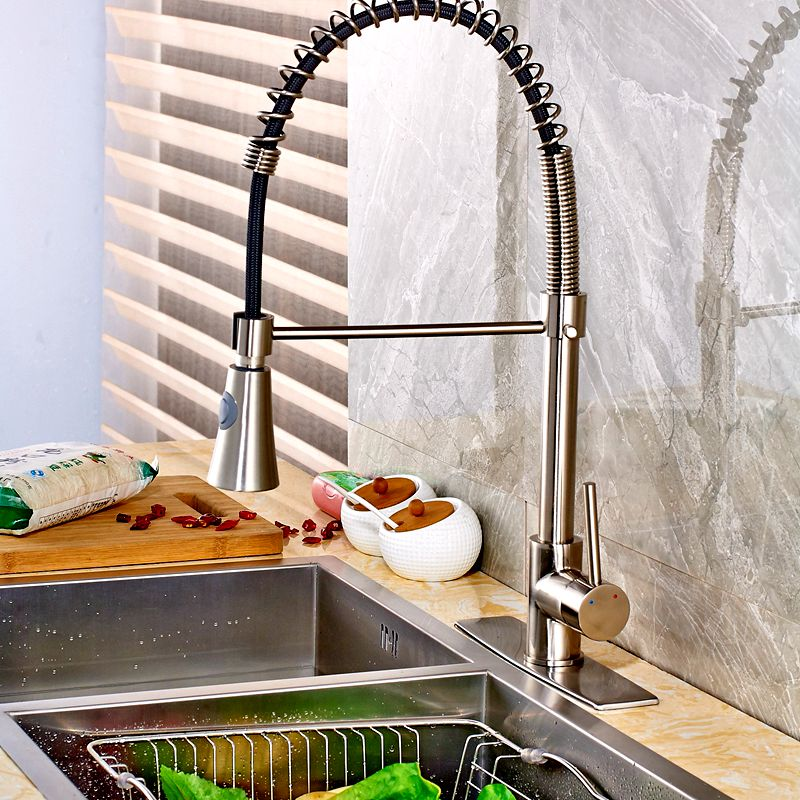Uythner Brushed Nickle Kitchen Faucet Horn Shape Hand Spray Mixer Tap with Square Plate Factory Direct