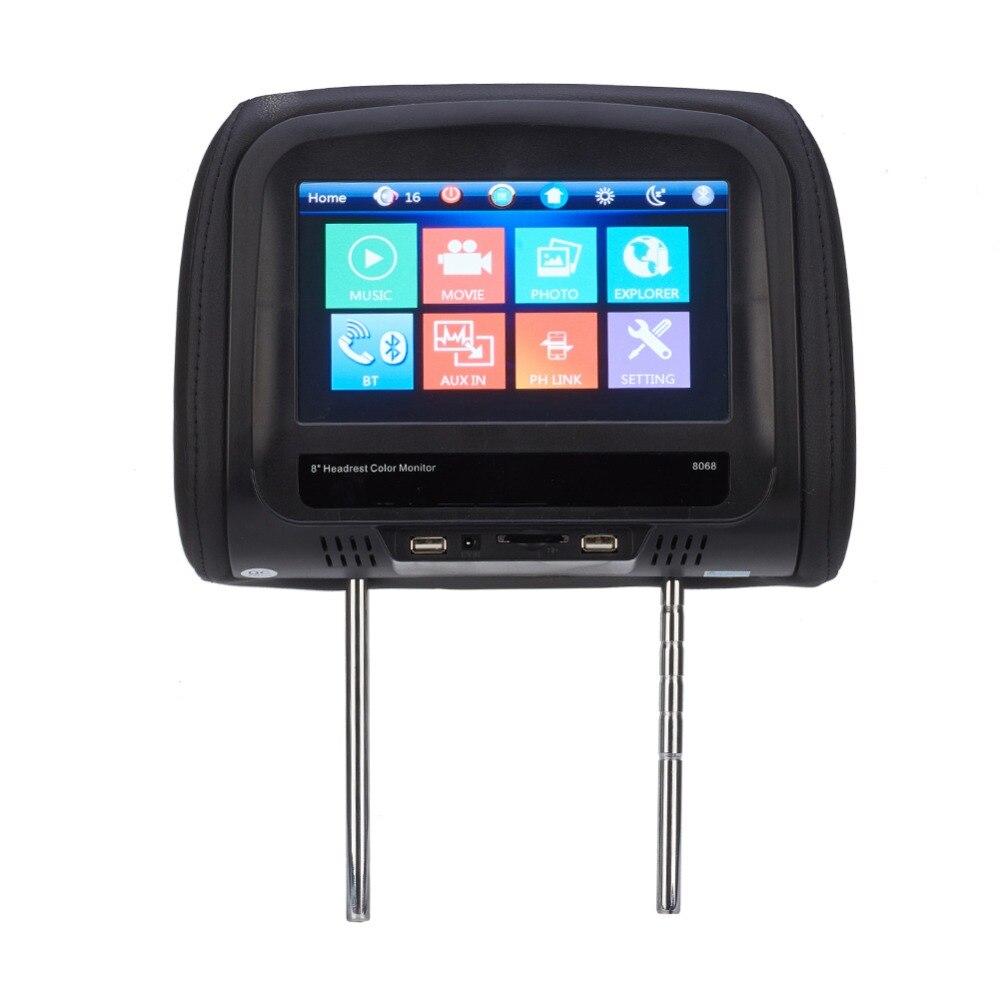 Otomobiller ve Motosikletler'ten Araba Monitörleri'de 8 inç HD araba yastığı monitör iç MP5 oynatıcı baş dayama monitörü desteği Bluetooth IR FM dokunmatik ekran ile oto aksesuarları title=