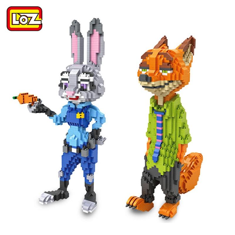 LOZ блок мини блок алмаз кирпич мультфильм негабаритных кролик лиса игрушка Сумасшедший зоопарк Поведение животных Map конструкция сборки иг...