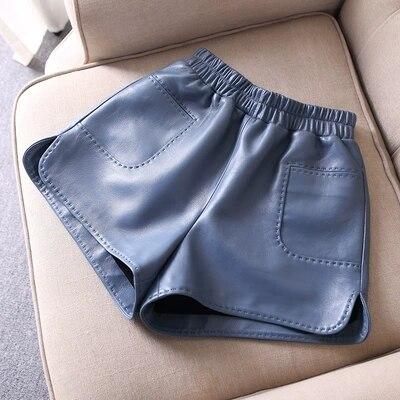 2018 New Elastic hHgh Waist Slim Sheep Leather Shorts