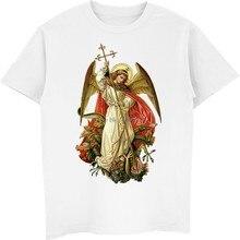 Saint michael destruir o diabo católico cristão t camisa masculina de algodão manga curta camiseta hip hop t topo harajuku streetwear