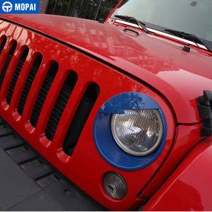 Image 4 - MOPAI Car Front Headlight Head Light Lamp Decoration Cover Exterior Stickers for Jeep Wrangler JK 2007 2016 Car Styling